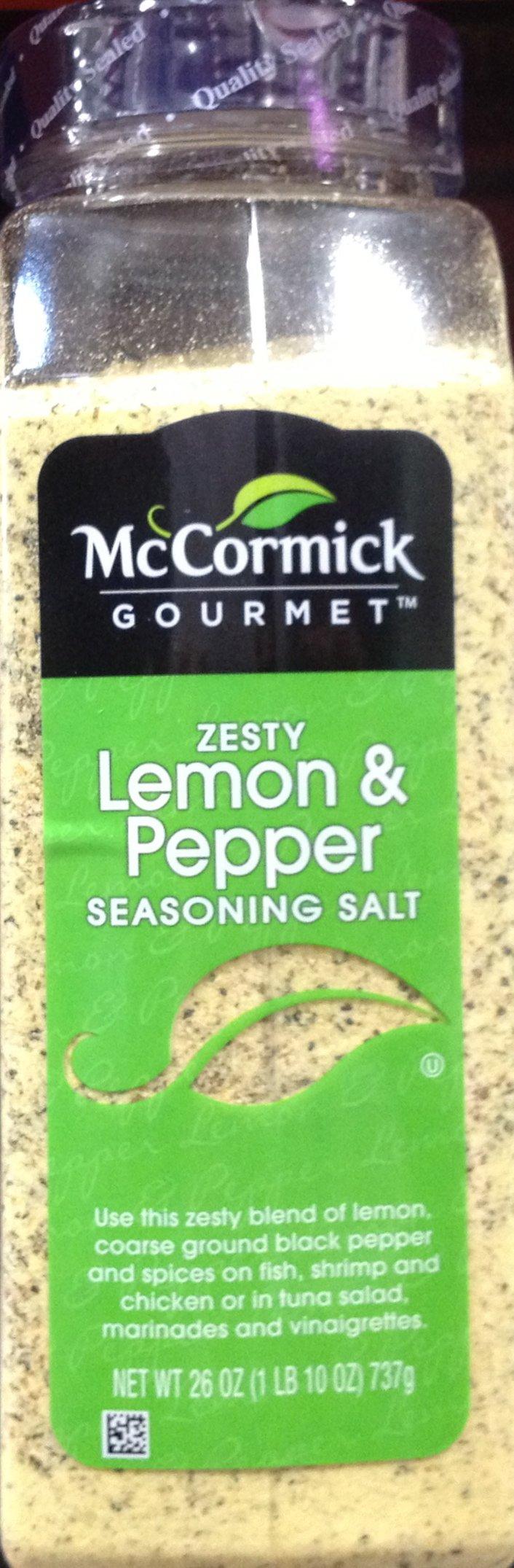 McCormick's Gourmet ZESTY LEMON & PEPPER Seasoning Salt 26oz (3 Pack)