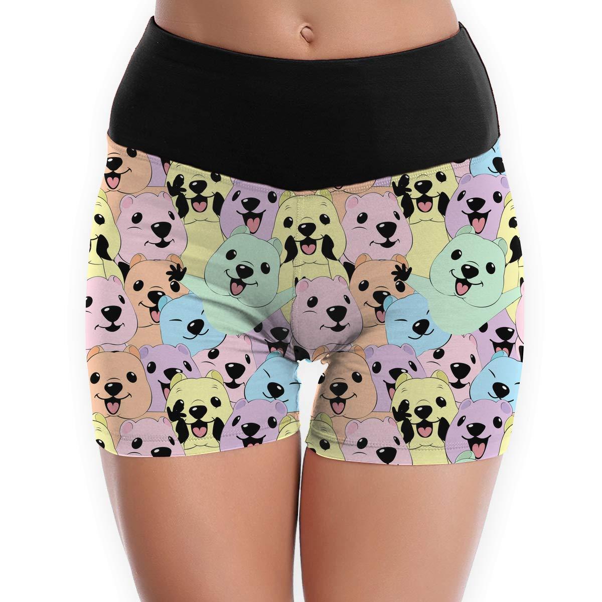 S to XL QfDuank8 Womens Quokka Pattern Power Flex Yoga Shorts Tummy Control Sports Pants