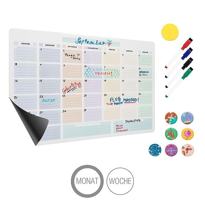 Amazy Calendario mensual magnético, incluye 4 rotuladores de ...