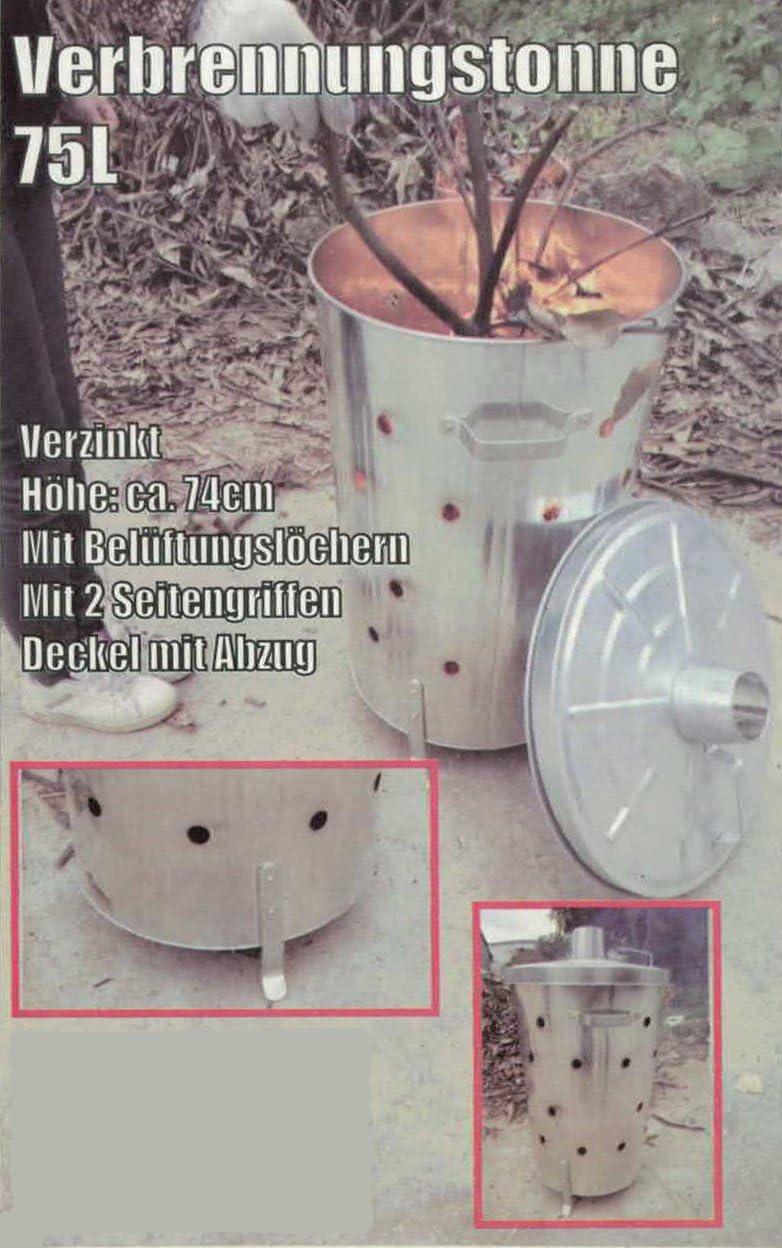Fuego tonelada 75ltr para residuos de jardín brennofen incinerador Brasero Horno: Amazon.es: Jardín