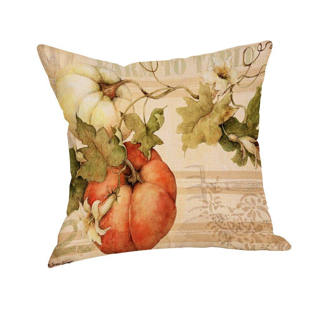 Pumpkin Throw Pillow Cover Halloween Cushion Case 18 x 18 Inch (01)