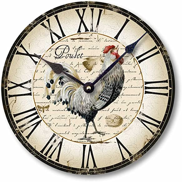 Fairy Freckles Studios Item C5006 Vintage Style Country French Chicken Clock 12 Inch Diameter
