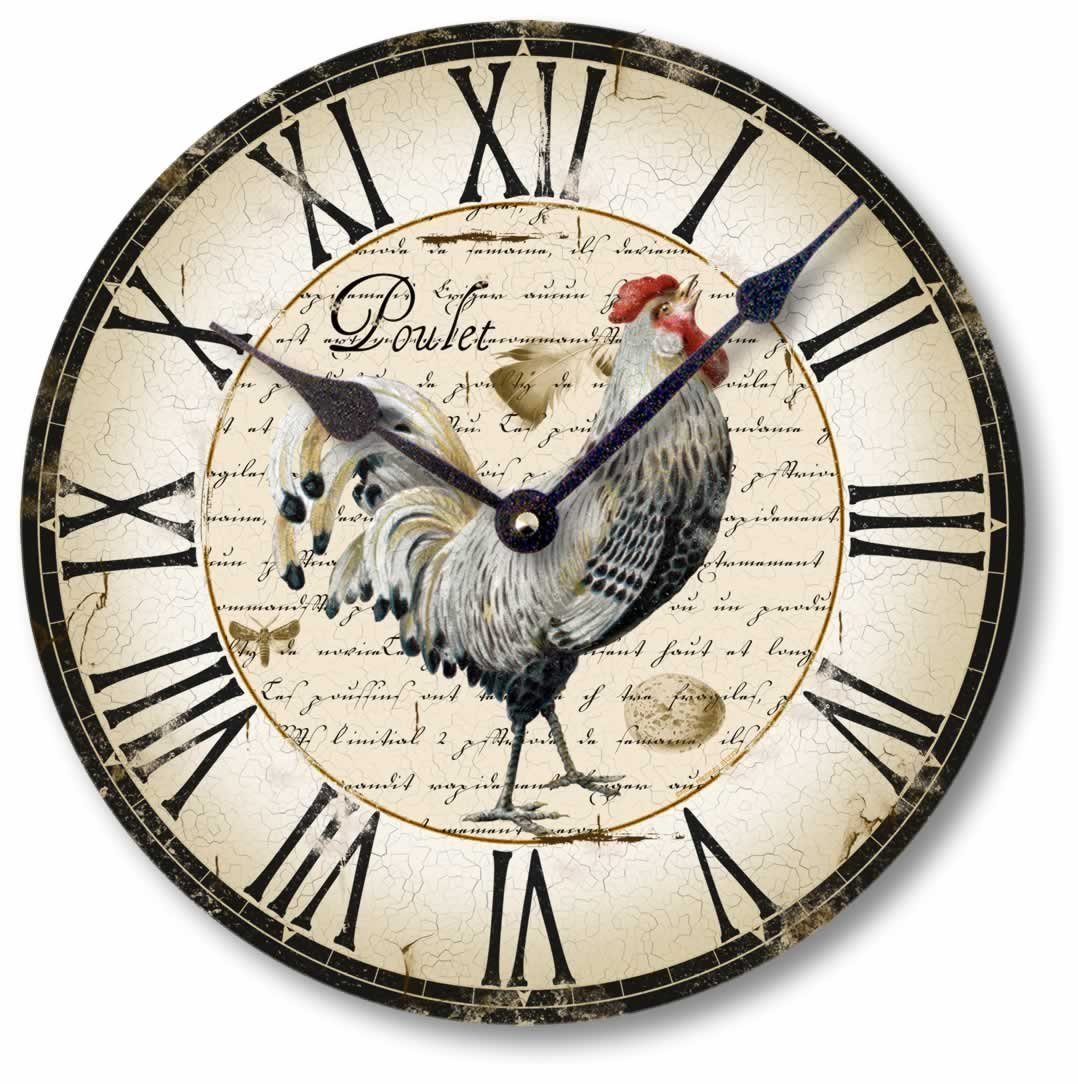 Fairy Freckles Studios Item C5006 Vintage Style Country French Chicken Clock (12 Inch Diameter)