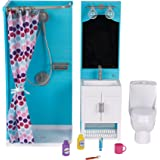"My Life As 17pc Bathroom Play Set with Shower and Light-up Vanity for 18"" Dolls"