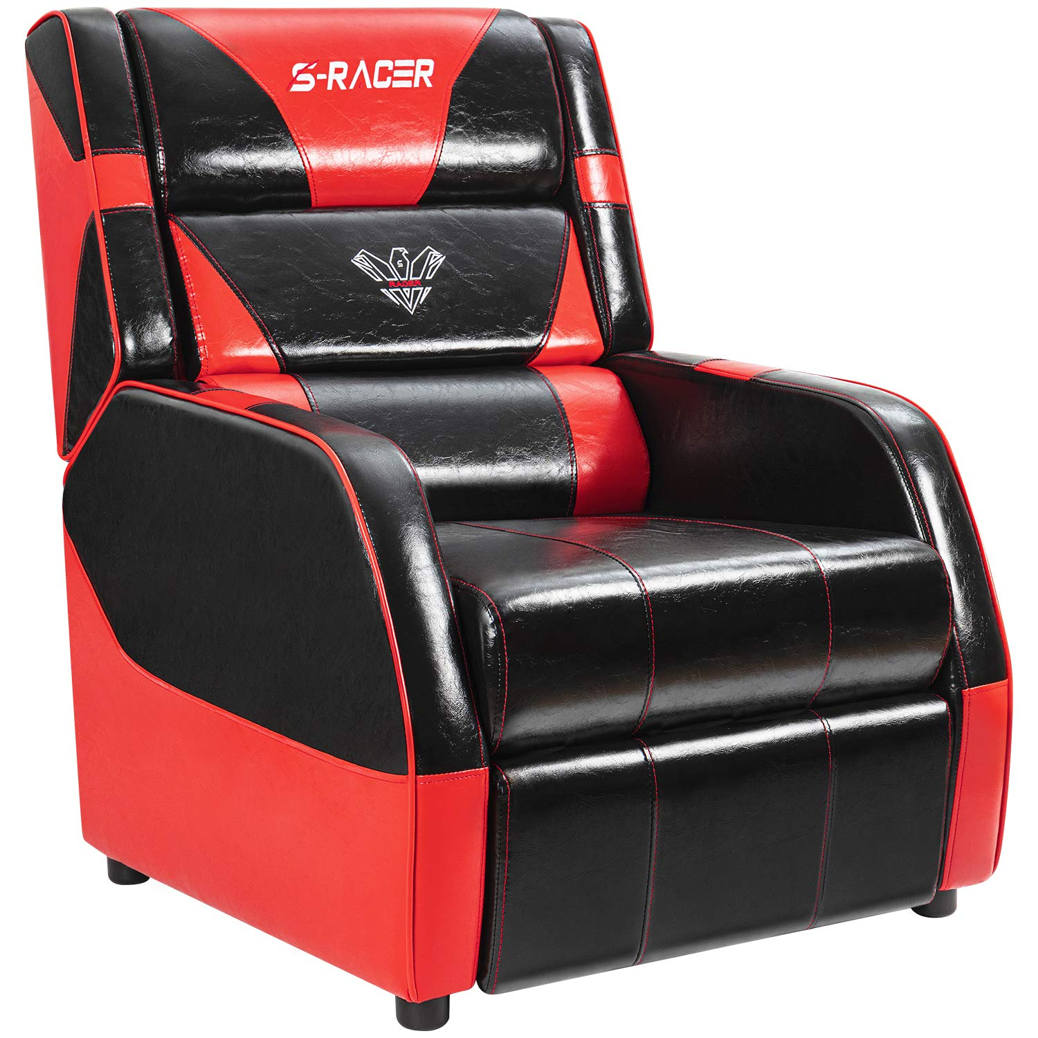 Gaming Recliner Chair Living Room Sofa Single Recliner PU Leather Recliner Seat Home Theater Seating with Removable Cushions Sracer (Red) by Homall