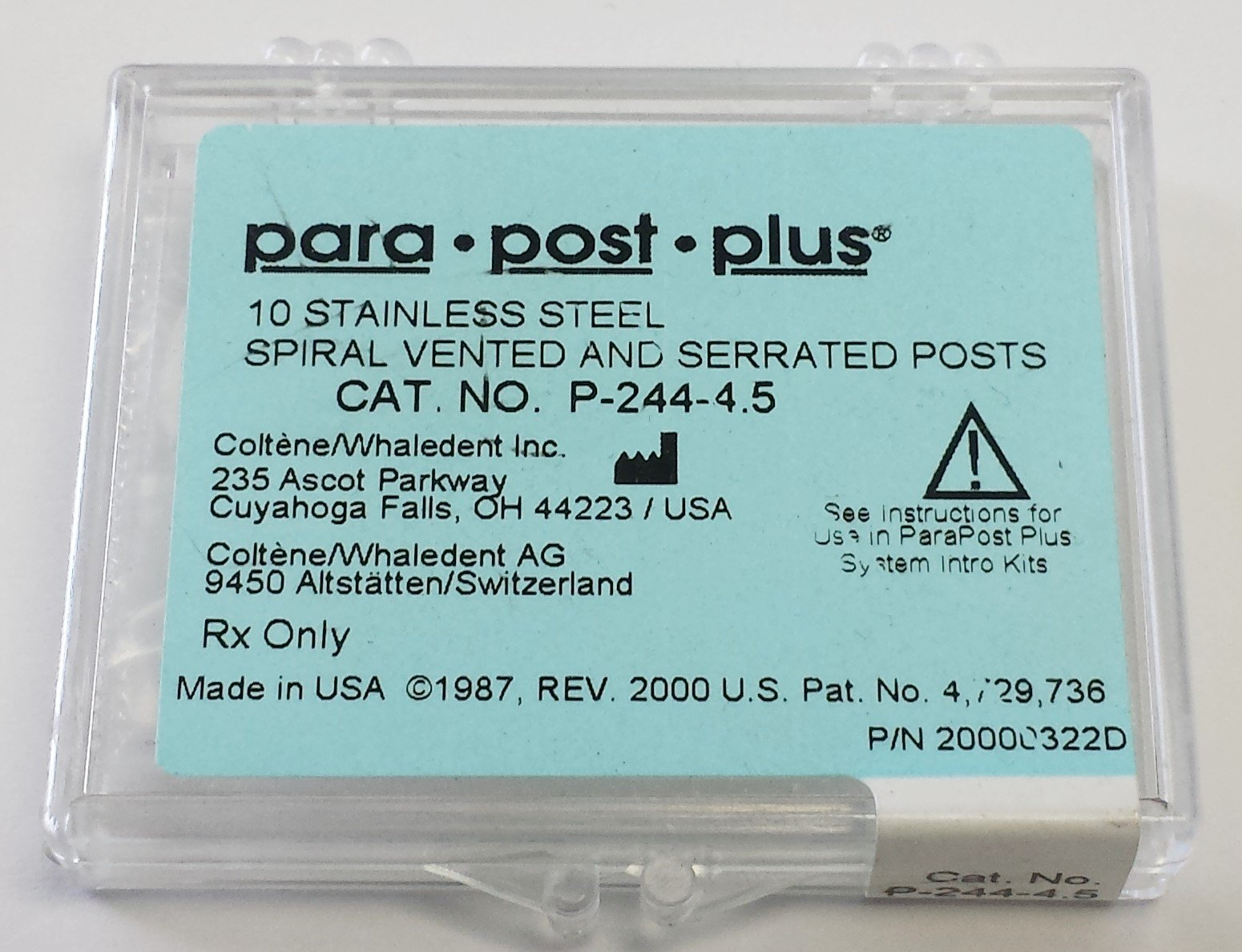 COLTENE/Whaledent ParaPost Plus stainless steel .045 blue 10/pack. PARA POST