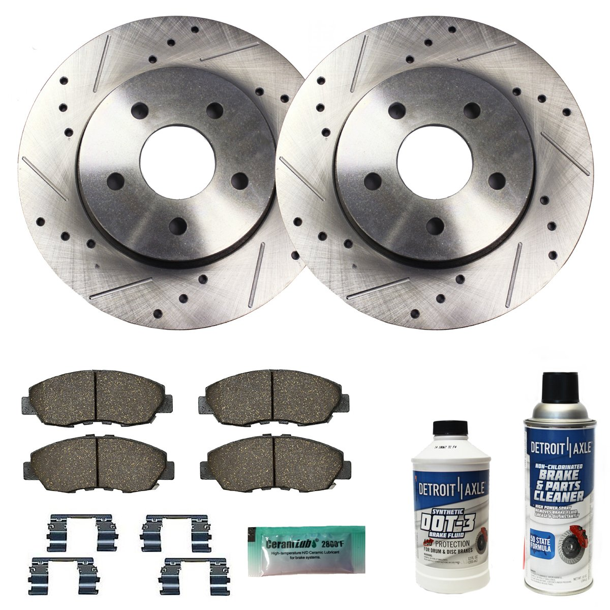 Detroit Axle - Drilled & Slotted Front Brake Rotors Performance GRADE Set &  Brake Pads w/Clips Hardware & BRAKE CLEANER & FLUID INCLUDED for 2011-2015