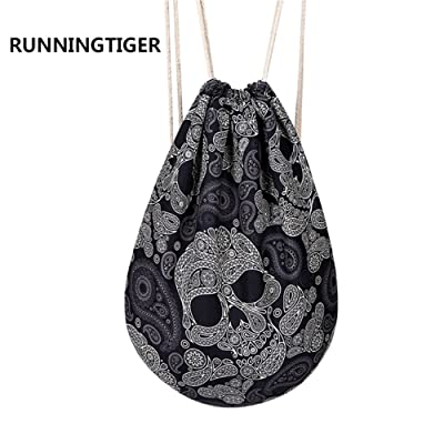 Runningtiger Fashion Skull Printed Drawstring Backpack Bags For Men Teenagers Boys cheap