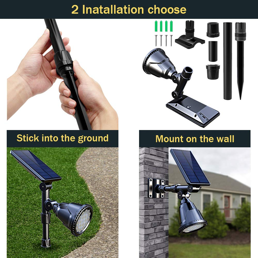 DBF Solar Lights Outdoor, Latest 18 LED Waterproof Solar Spotlights Solar Landscape Lights Auto On/Off Wall Security Lighting for Garden Yard Pathway Driveway Pool Landscaping, Pack of 2 (Cool White) by DBF (Image #4)