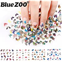 BlueZOO 24Pcs/Lot Mixed Designs 3D Nail Stickers Manicure Colorful Brilliant Butterfly Decoration Beauty DIY Nail Art Decorations Stickers