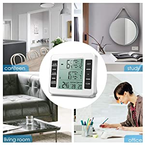 (New Version) AMIR Refrigerator Thermometer, Wireless Indoor Outdoor Thermometer, Sensor Temperature Monitor with Audible Alarm Temperature Gauge for Freezer Kitchen Home (Battery not Included) (Color: White)