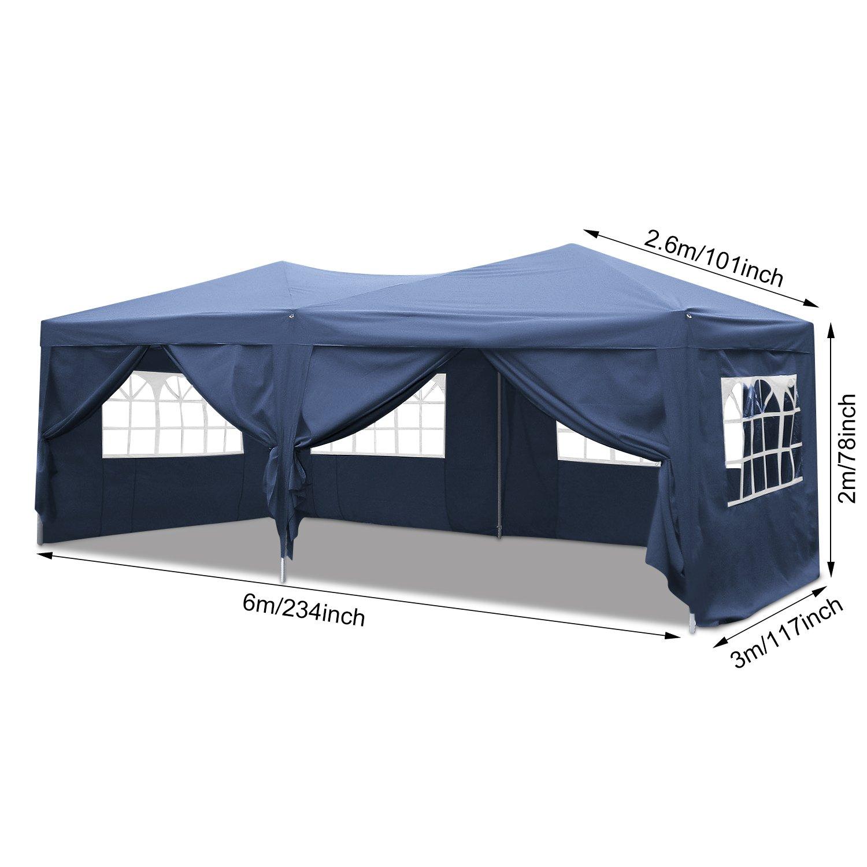 Homdox Tienda Pabellón Carpa 3M*6M con Paredes Laterales y Ventanas Plegables para Fiestas, Eventos, Boda, en Jardín o al Aire Libre, Negro: Amazon.es: ...