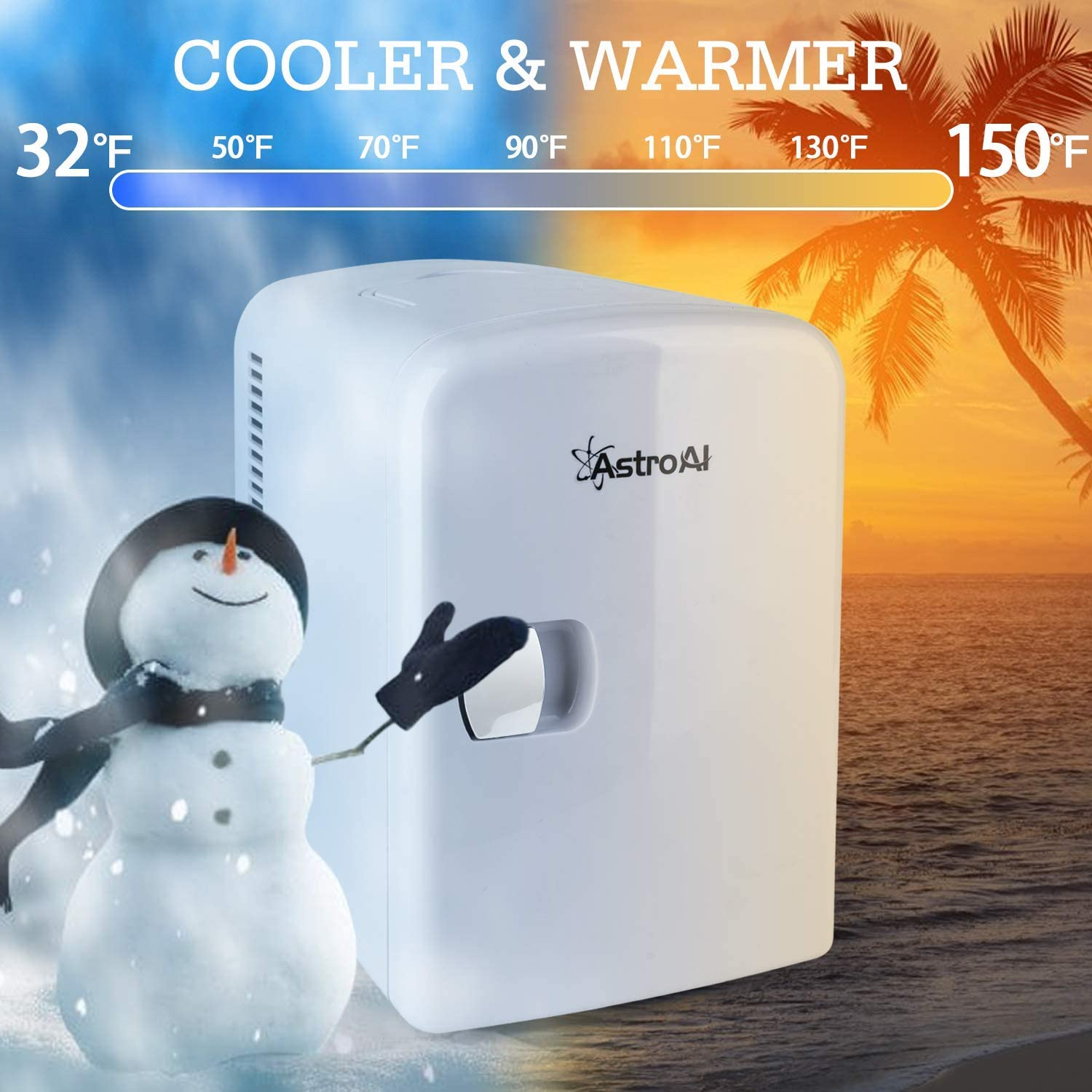 Home and Travel Foods AstroAI Mini Fridge 4 Liter//6 Can AC//DC Portable Thermoelectric Cooler and Warmer for Skincare White Medications Renewed