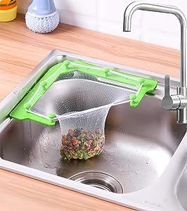 Triangle Sink Strainer Bag net Triangular Mesh Hanging Bag For Sink Kitchen Leftovers Filter Basket Fine Mesh Corner Sink Garbage Storage Holder Tri-Holder Filter (1 Holder + 100PCs Mesh Filter Bags)