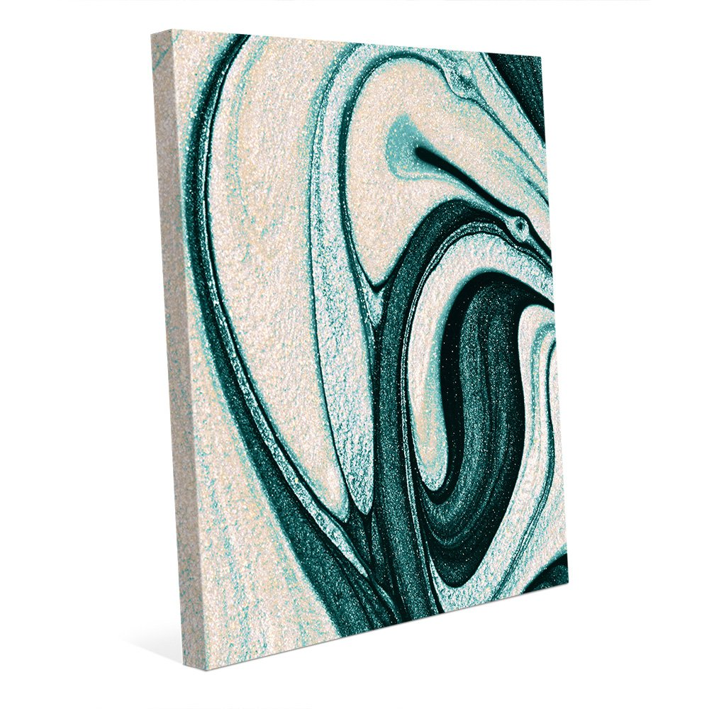 Amazon com goshenite and turquoise non metallic abstract marbled french book endpaper swirls in rich ocean sea blue green cream white wall art print on