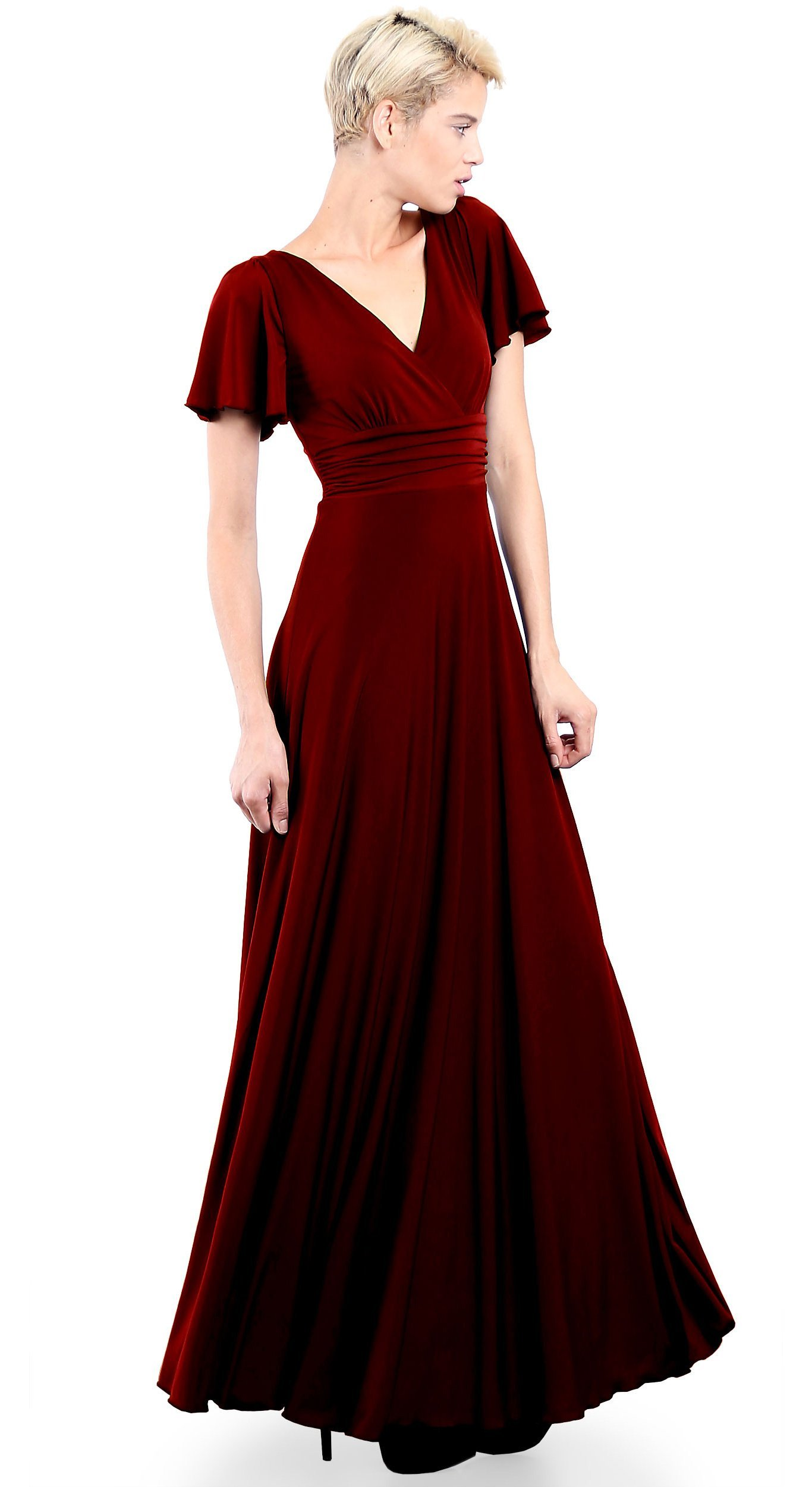 fc9f9e0d6fb1 EVANESE Women's Plus Size Evening Formal Long Dress Gown with Short Sleeves  2X, Wine