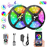 VAZILLIO LED Strip Light Bluetooth,32.8ft RGB 5050 LEDs Light Strip Kits DIY Color Changing Mood Led Lighting Strips IP67 Waterproof Sync to Music for Bar Car Home TV Bedroom Party Decor
