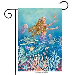 "Briarwood Lane Mermaid Summer Garden Flag Nautical Fish 12.5"" x 18"""