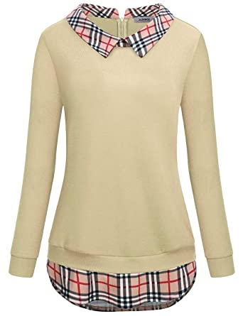 d5259929a Twofer Sweaters for Women Career Business Casual Clothes Classy Trendy  Plaid Splice Lapel Collar Curved Hem