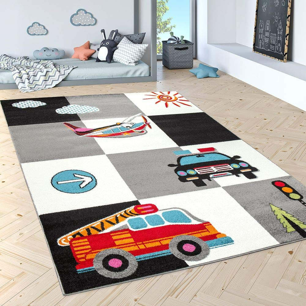 Kinderteppich Spielteppich Polizei Feuerwehr Flugzeug Karo Creme Grau Schwarz, Grösse:160x220 cm
