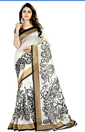 Pavitra Enterprise Women s Art Silk Off-White Saree  Amazon.in  Clothing    Accessories 85e9a216ec