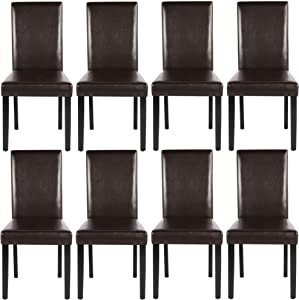 YAHEETECH Dining Chair Living Dining Room PU Cushion Diner Chair High Back Kitchen Dining Chairs with Solid Wood Legs Set of 8 Brown