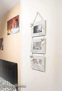 dcasa - Marco de fotos multiple colgante original de madera para 3 fotos 13x18 cm: Amazon.es: Hogar