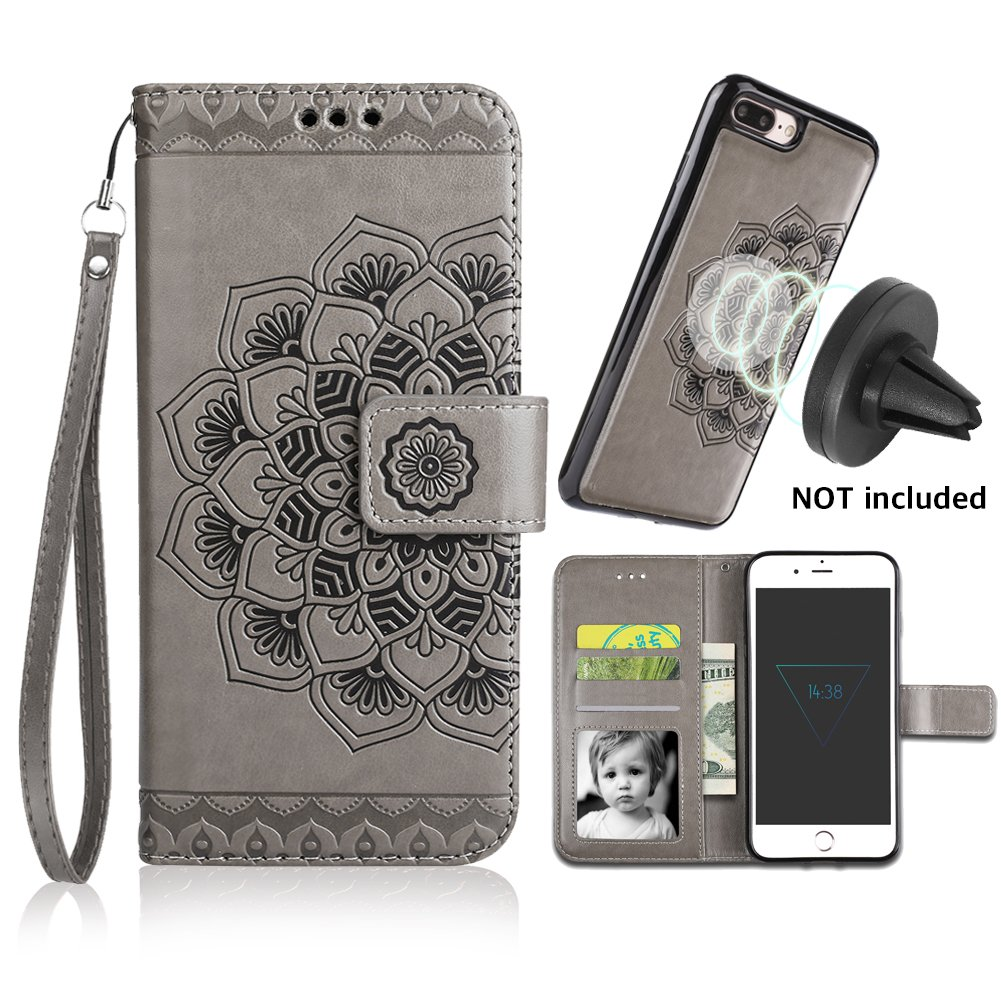 iPhone 8 Plus Case,iPhone 7 Plus Flip Embossed Leather Wallet Cases with Protective Detachable Slim Case Fit Car Mount,CASEOWL Mandala Flower Design with Card Slots, Strap for iPhone 7/8 Plus[Gray] by CASEOWL