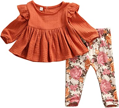 Toddler Little Girls Ruffle Fall Dresses+Floral Leggings Pants Outfit