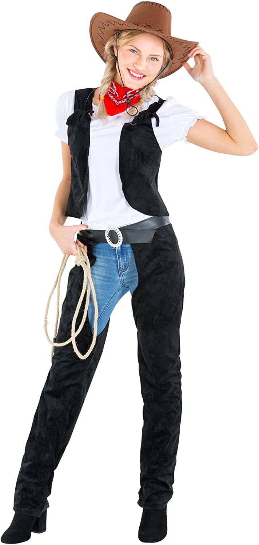 dressforfun Disfraz de Mujer Vaquera | chaparreras en imitación de ...