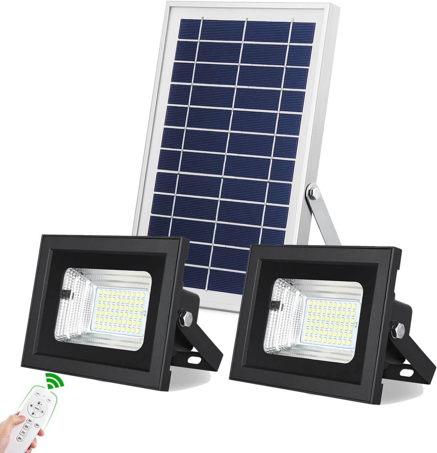 Solar Flood Lights Outdoor/Indoor Dusk to Dawn Uponun Dual Head 60LED IP67 Waterproof Smart Remote Control Solar Powered Security Light for Yard Path Pool Patio Shed Sign Barn Garden Garage Driveway