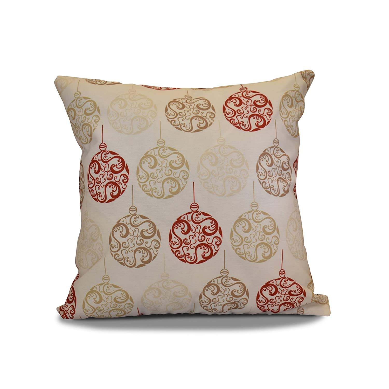 E by design O5PHGN680IV4BR9-16 16 x 16 Decorative Geometric Print Holiday Brown Outdoor Pillow