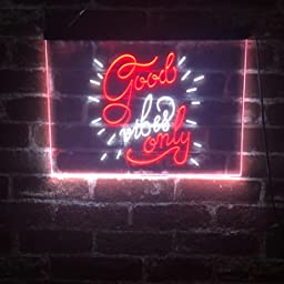 Amazon Com Advpro Good Vibes Only Man Cave Bar Room Decor Dual Color Led Neon Sign White Purple 16 X 12 St6s43 I3212 Wp Home Kitchen