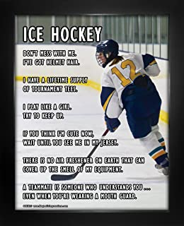 Framed Ice Hockey Female Player On 8 X 10 Sport Poster Print
