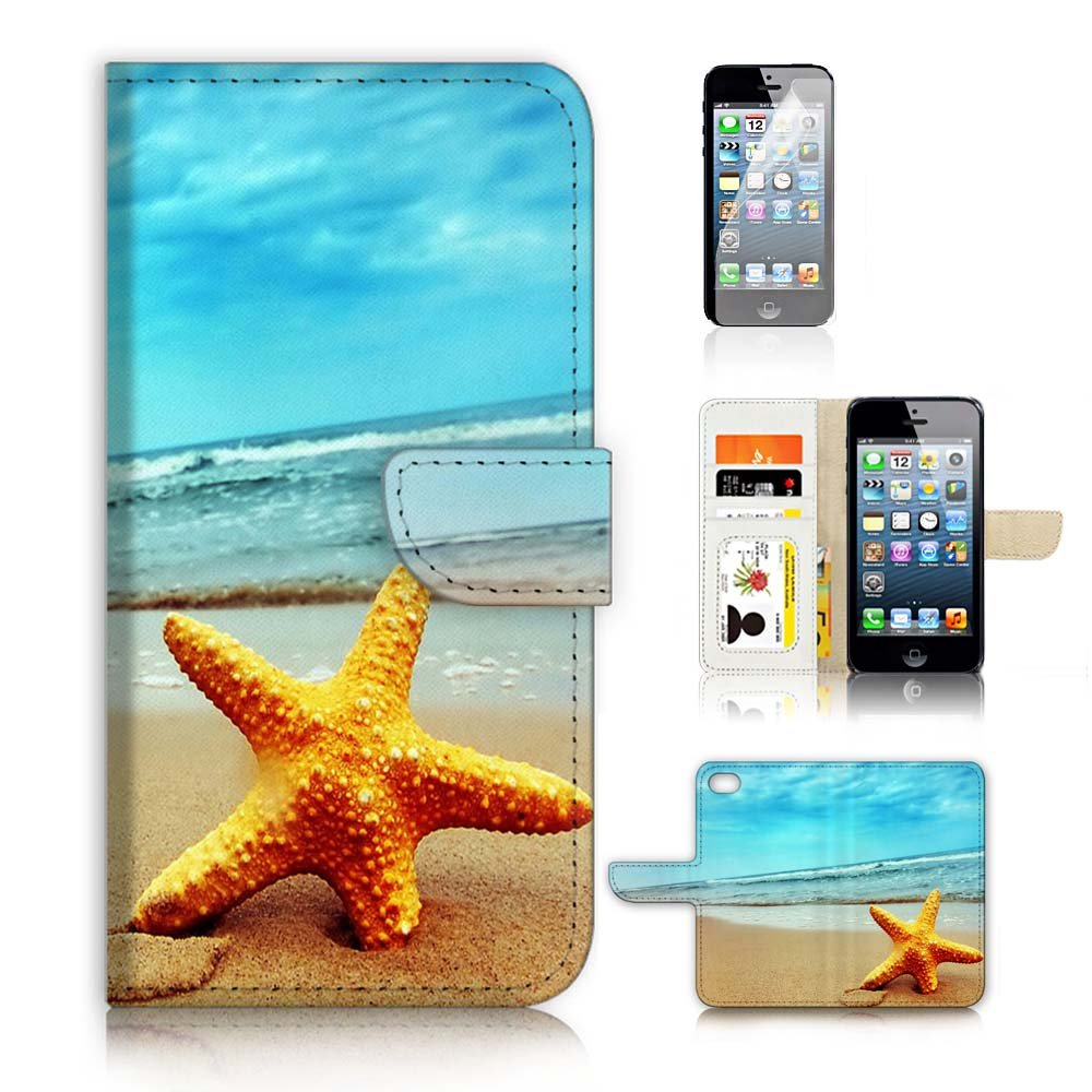 ( For iPhone 5 5S / iPhone SE ) Flip Wallet Case Cover and Screen Protector Bundle A0021 Starfish Beach Sea Blue Sky