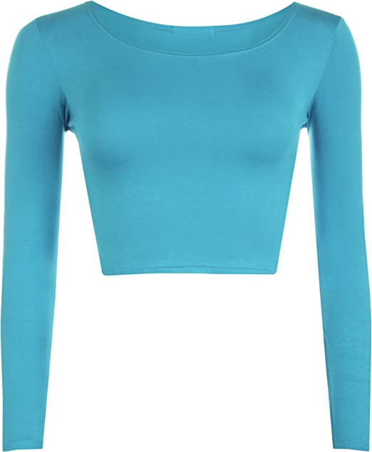 074ada0f96e6a1 WearAll Womens Crop Long Sleeve T Shirt Ladies Short Plain Round Neck Top  8-14  Amazon.co.uk  Clothing