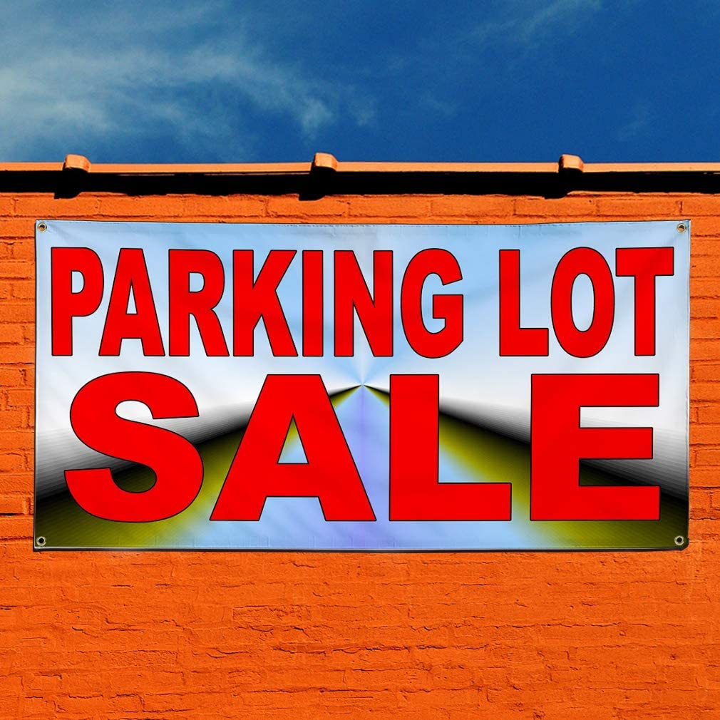 32inx80in Set of 2 Multiple Sizes Available Vinyl Banner Sign Parking Lot Sale Red Blue1 Lifestyle Parking Marketing Advertising Red 6 Grommets