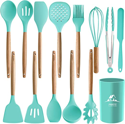 Grey Wooden Handles Kitchen Gadgets Set for Nonstick Cookware 12 Pcs Silicone Kitchen Utensil Sets with Utensil Holder Cooking Utensil Set