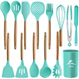 MIBOTE 14PCS Silicone Cooking Kitchen Utensils Set with Holder, Wooden Handles Cooking Tool BPA Free Non Toxic Turner Tongs Spatula Spoon Kitchen Gadgets Set for Nonstick Cookware (Green)