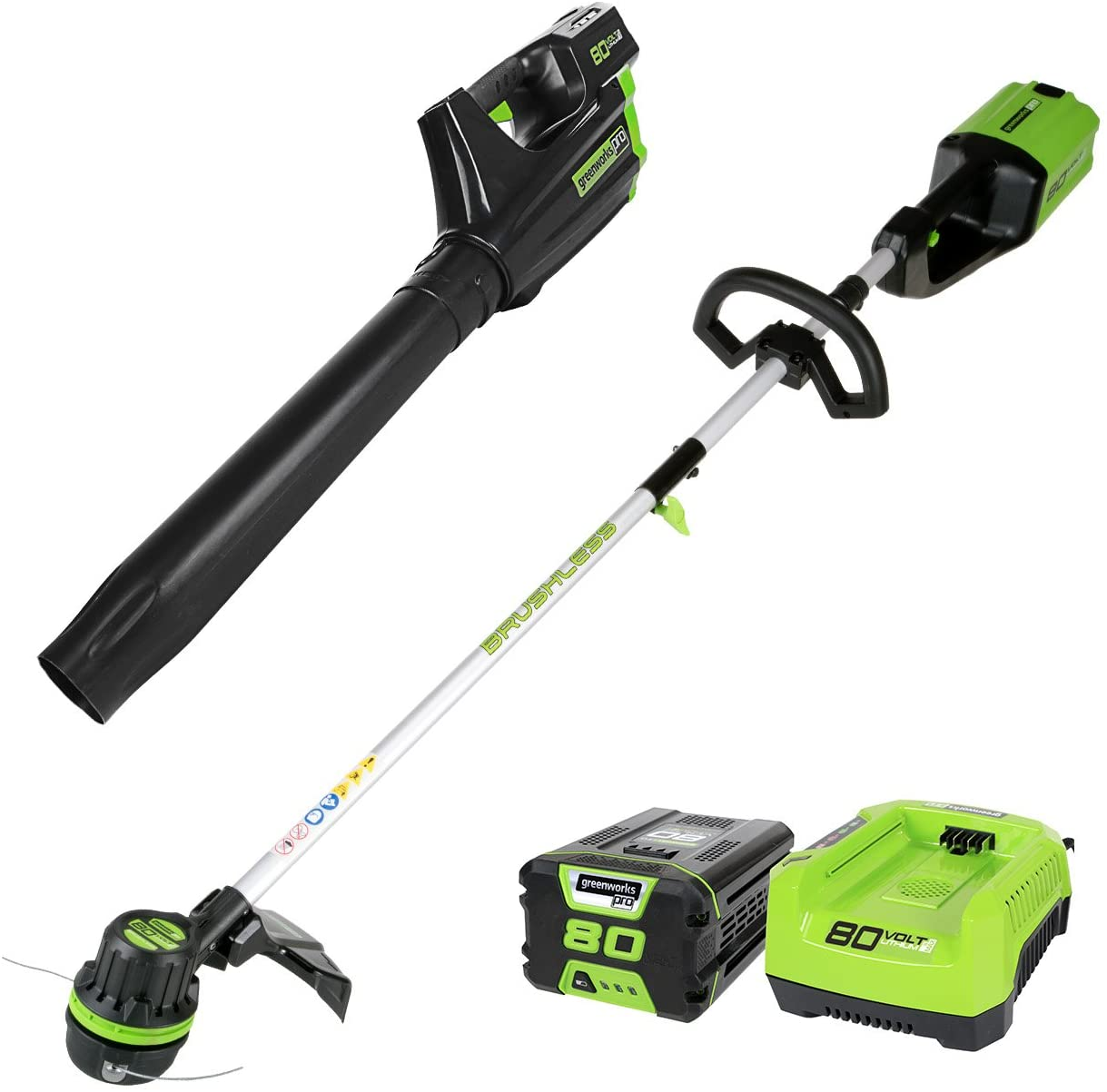 Greenworks PRO 80V Cordless Brushless String Trimmer Leaf Blower Combo, 2Ah Battery and Charger Included STBA80L210