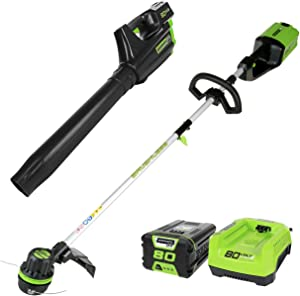 Greenworks PRO 80V Cordless Brushless String Trimmer + Blower Combo, 2Ah Battery Included STBA80L210