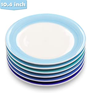 Reomore 10.4-inch Dinner Plate Set, 6-pack Porcelain Pasta/Salad/Dessert Plate Dishwasher Microwave Freezer Safe Hand-painted Round Dinnerware Dish Set for Restaurant Family Party and Kitchen Use