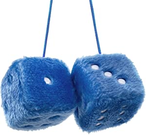 YGMONER Pair of Retro Square Mirror Hanging Couple Fuzzy Plush Dice with Dots for Car Decoration (Blue)