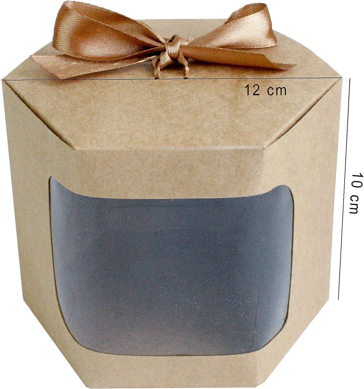 13 cm x 13 cm x 14 cm Emartbuy Papier Fort Stand Up Sac Cadeau DHexagone Petits G/âteaux et Biscuits Avec Fen/être Transparente et Ruban Sac Kraft Marron Bo/îte /à Tarte Aux Muffins Pack de 24