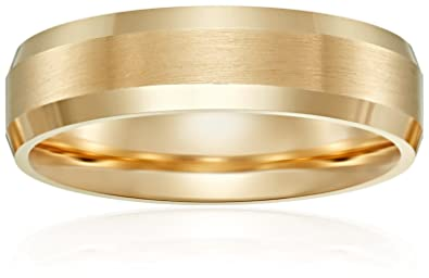 Mens 14k Yellow Gold 6mm Comfort Fit Carved With Satin Finished Center And High Polished Beveled