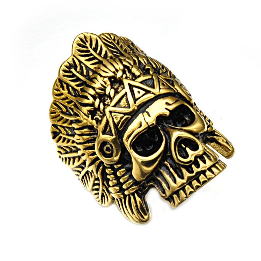SAINTHERO Men's Vintage Stainless Steel Band Rings Gothic Indian Chief Skull Hip-hop Jewelry Punk Biker Rings Gold Black 12