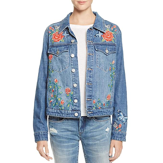4a3b070cf3 Blank NYC Womens Embroidered Floral Denim Jacket