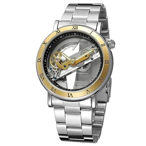 Forsining Hombres del diseño único lujo Automático Movimiento Popular estilo pulsera de acero inoxidable reloj de esqueleto: Amazon.es: Relojes