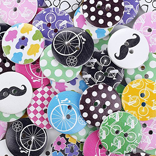 Crystallove 2 Holes Mixed 30mm Buttons Lot with Different Color and Style for Sewing Fasteners Scrapbooking and...