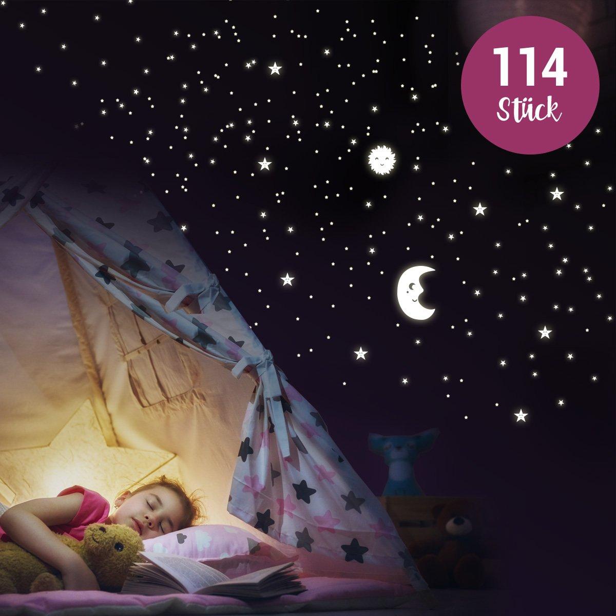 Wandkings - Adhesivos de pared luminosos, fluorescentes y brillantes en la oscuridadSol, luna y estrellas Juego XL 114 adhesivos en 2 hojas A4 Wandkings.de